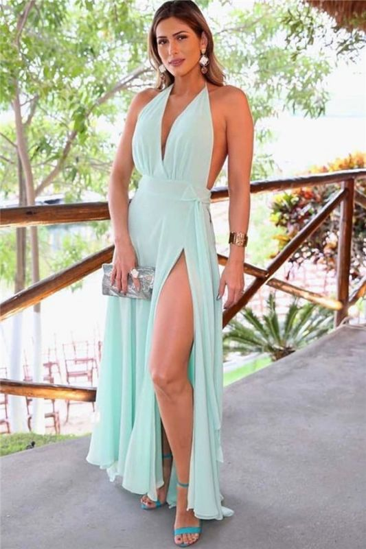 A-line Sash Ankle-length Front-slit Halter Sexy Prom Dress