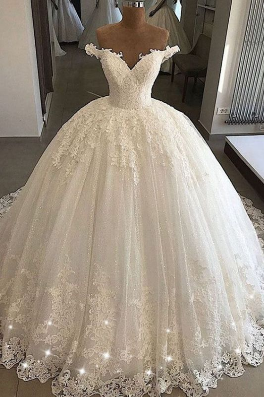 Applique Off-the-shouder Luxury Beading Ball-gown V-neck Wedding Dress