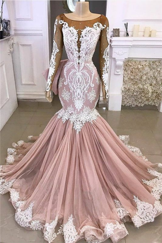 Mermaid Long-sleeve Pearls Luxury Applique Scoop Wedding Dress