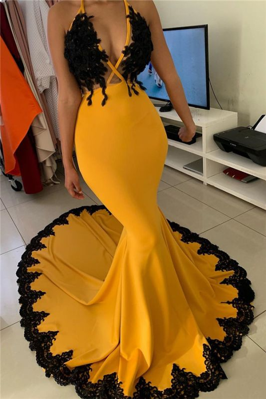 Mermaid Halter Sexy Long Applique Prom Dress