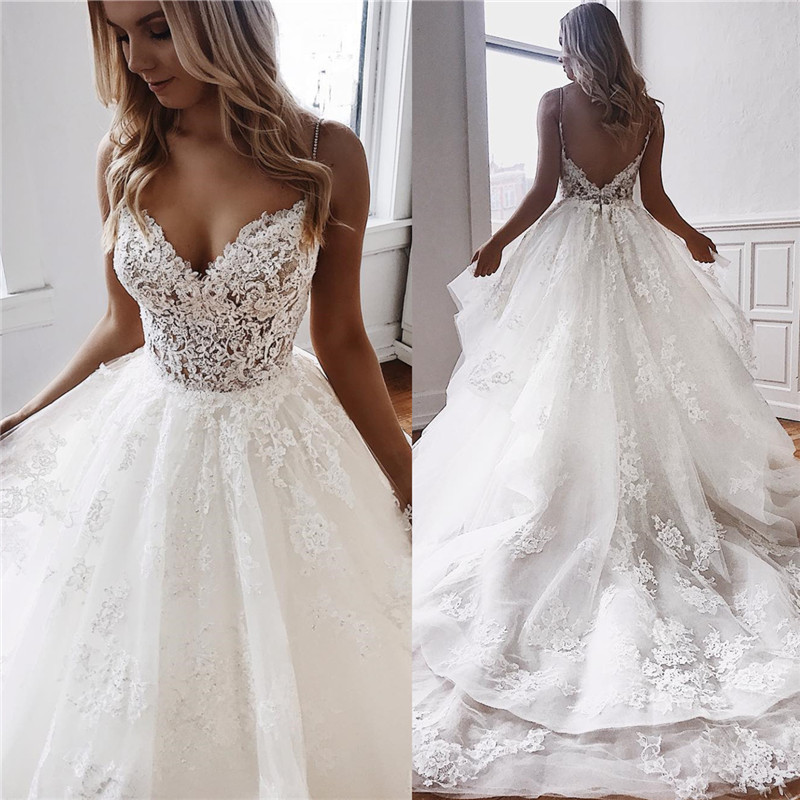 Ball-Gown Lace Spaghetti-Straps White Fascinating Wedding Dresses | Chapel-Train Appliques 2021 Wedding Gowns