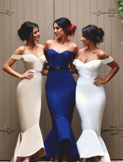 Newest Mermaid Ruffles Off-the-shoulder Long Lace-up Bridesmaid Dress BA2739