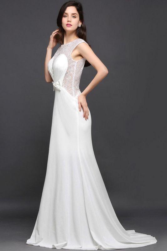Chic Long Cap Mermaid Sleeve Sheer Jewel Ivory Evening Dresses