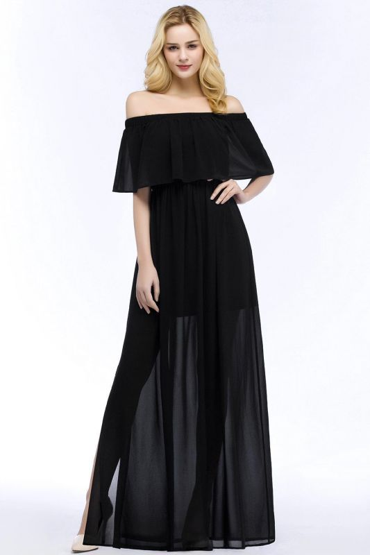 Chiffon Off-the-shoulder Length A-line Black Floor Bridesmaid Dresses
