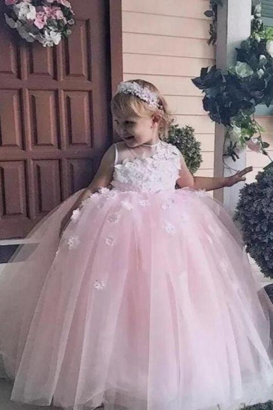 Pink Princess Jewel  Flowers Ball Gown Flower Girl Dresses   Little Girl Party Dress