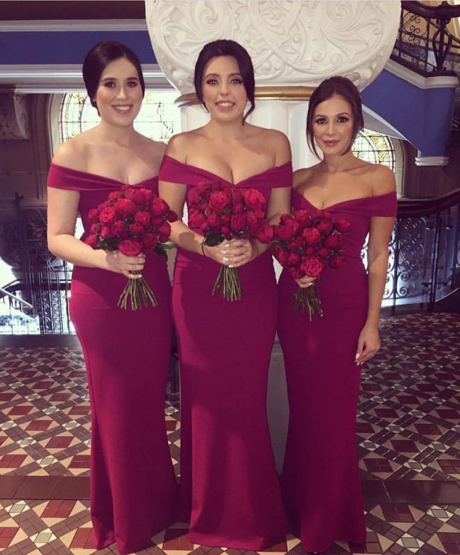 Off-the-shoulder Sexy V-neck Sheath Bridesmaid Dresses