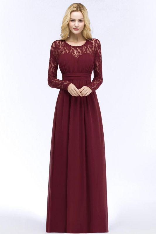 Floor Lace Length Long A-line Sleeves Chiffon Bridesmaid
