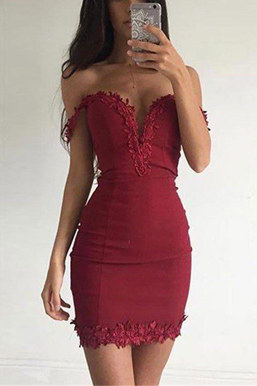 Short Appliques Sheath Sexy Off-the-shoulder Burgundy Homecoming Dress