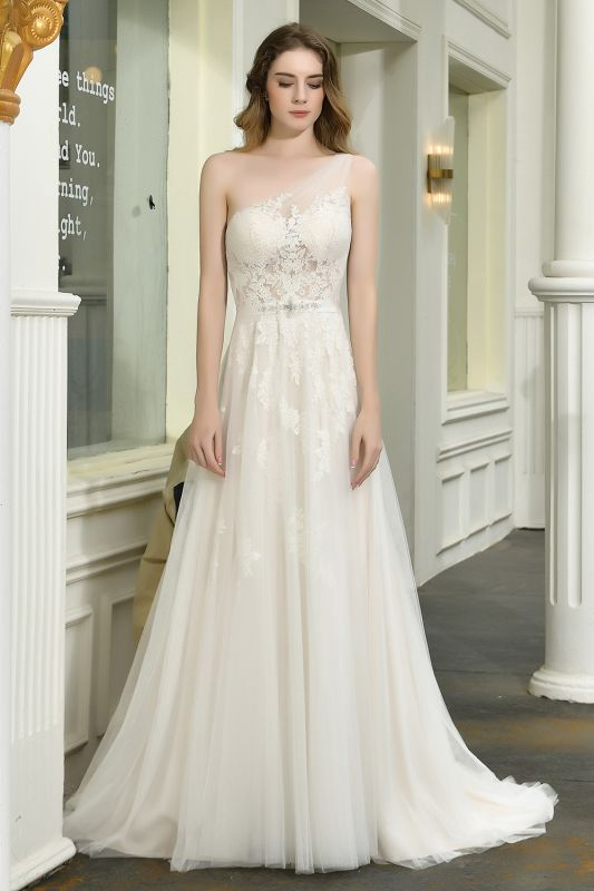 Sexy One Shoulder Lace Tulle Wedding Dresses Open Back
