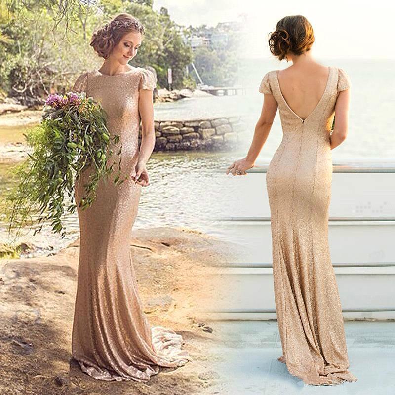 Zipper Short-Sleeve Elegant Long Sequined Bridesmaid Dresses