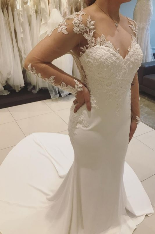 Long-sleeve Graceful V-neck Applique Beaded Mermaid Illusion-back Wedding Dress