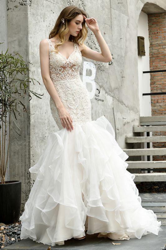 Wholesale Long Mermaid Lace Organza Wedding gowns Ruffles Train