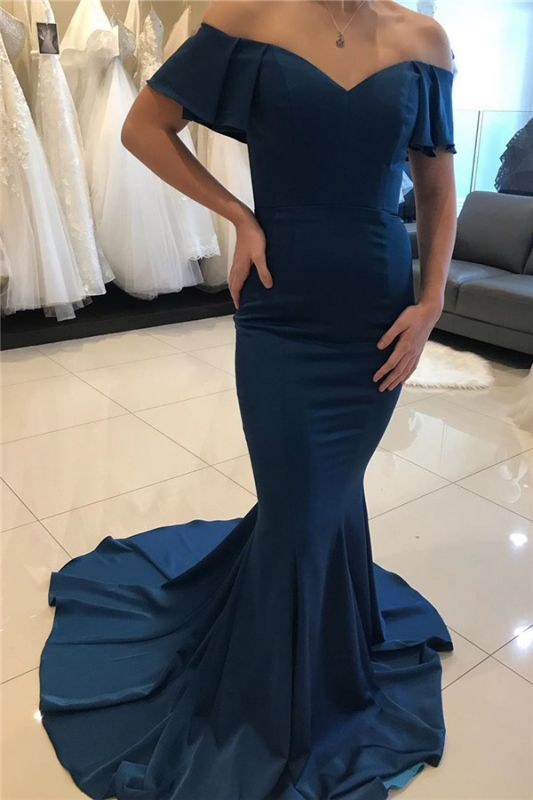 Mermaid Off-the-shoulder Ruffle-sleeve Backless Prom Dress