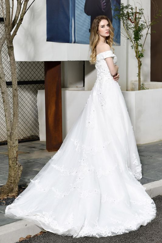 Cheap White Off the Shoulder Lace Beading Mermaid Wedding Gowns