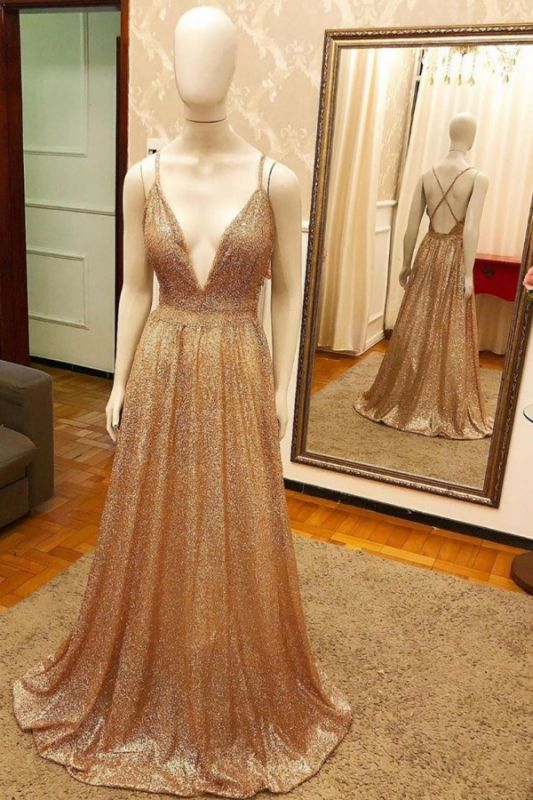 Luxury Sequin Gold Spaghetti-strap A-line Prom Dress