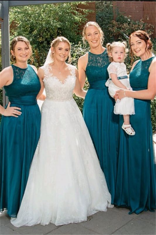 Floor-length Dark Green Ruffles Halter Lace Open-back A-line Bridesmaid Dress