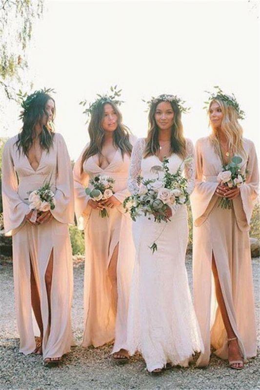 Sheath Slit V-neck Flare-long-sleeve Floor-length Bridesmaid Dress