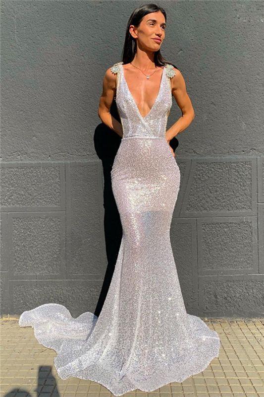 Shiny sequin Straps Deep-v-neck Beading-back Mermaid Prom Dress