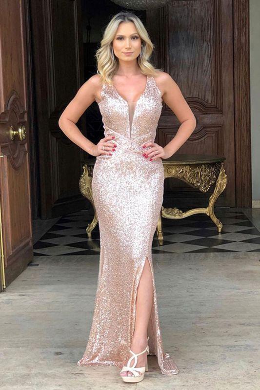 Sheath Alluring Straps Sequined V-back Front-slit V-neck Prom Dresses