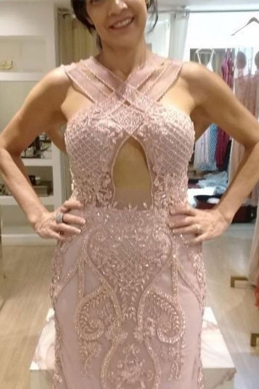 Halter Sheath Applique Cheap Sleeveless Backless Crystal Pink Prom Dresses