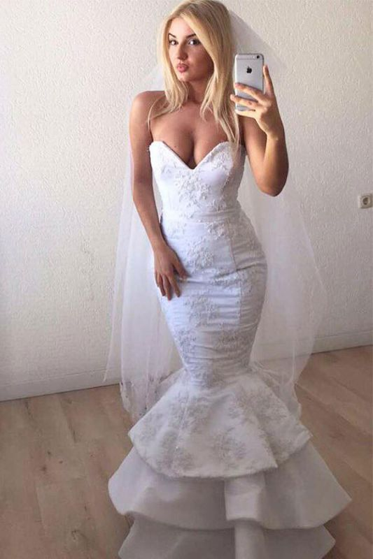 Mermaid Beading Applique Sweetheart Backless Sleeveless Wedding Dresses