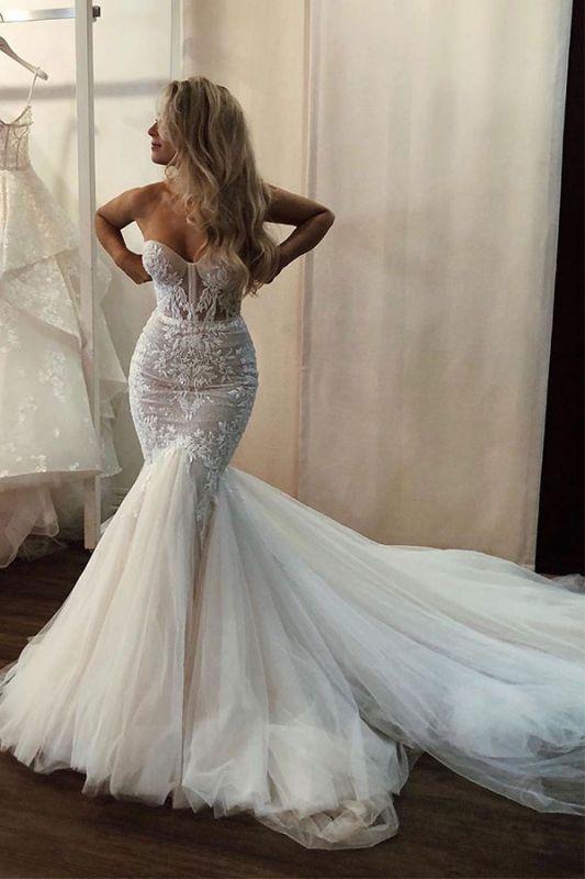 Beading Mermaid Lace Ruffles Sleeveless Applique Sweetheart Wedding Dresses