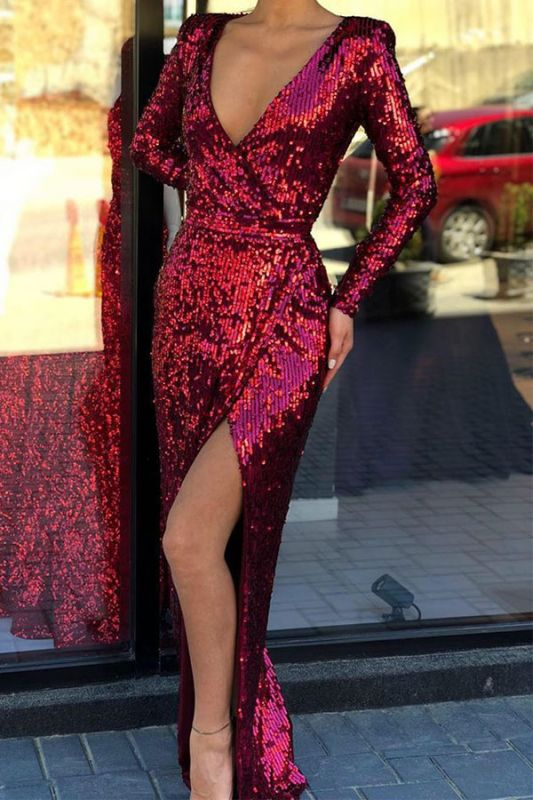 V-neck Long-sleeve Sheath Front-slit Floor-length Alluring Sequined Prom Dress