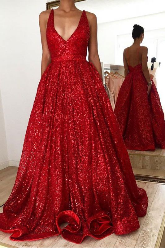 Red A-line V-neck Backless Sequined Lace Luxury Straps Prom Dresses