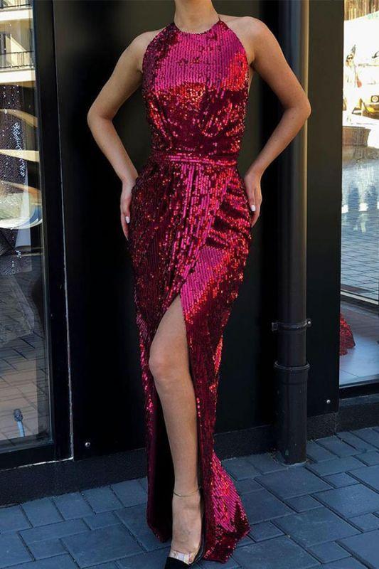 Halter Sequined Front-slit Sheath Floor-length Sleeveless Prom Dresses
