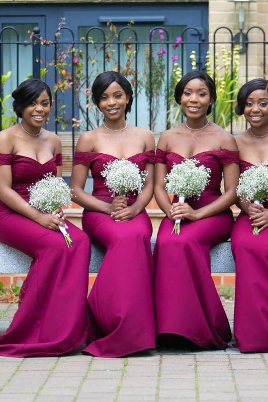 Off-the-shoulder Sheath Applique Sweethert Bridesmaid Dresses