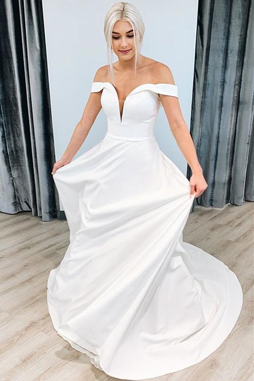 V-neck Off-the-shoulder Graceful A-line Wedding Dress With-belt