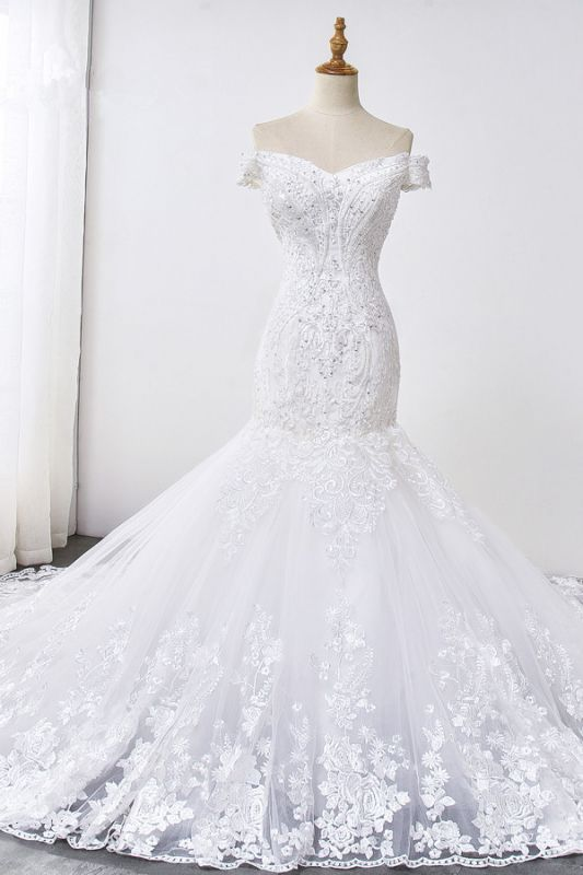 Amazing Off  The Shoulder Beading Lace Fit and Flare Mermaid Wedding Dresses