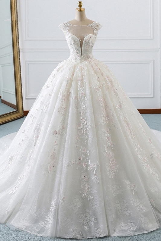 Gorgeous Jewel Cap Sleeve Flower Lace Ball Gown Wedding Dress | Ruffles Bridal Gown