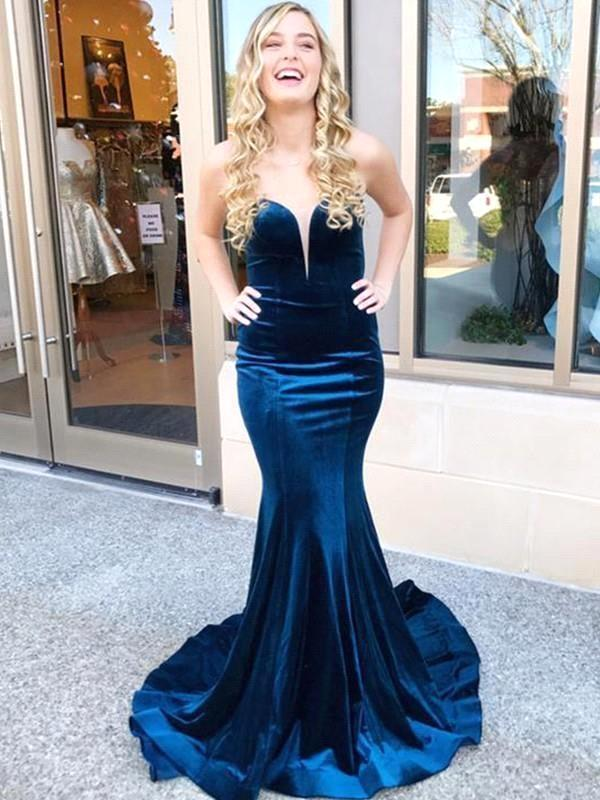 Dark Blue Velvet Criss-cross Back Mermaid Prom Dresses