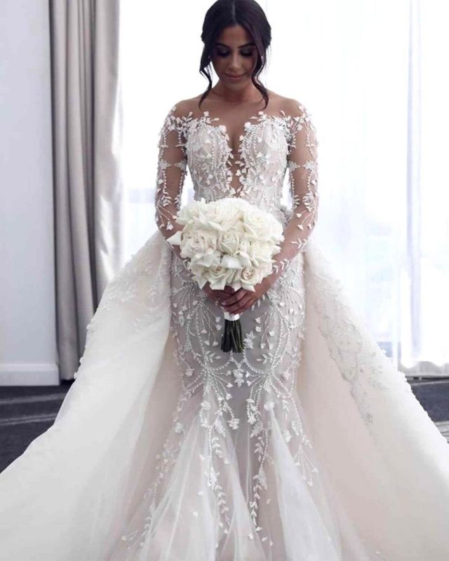 Hot Flower Lace Wedding Gowns Long Sleeves Mermaid with train