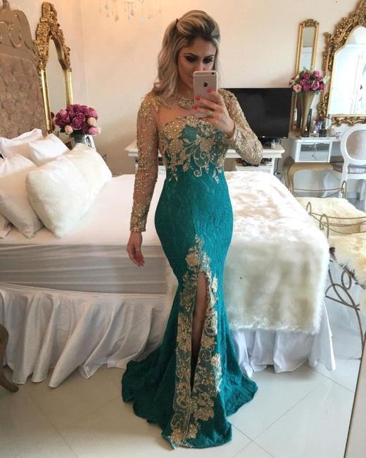 Green Long Sleeves Prom Dresses Pearls Memraid  with split