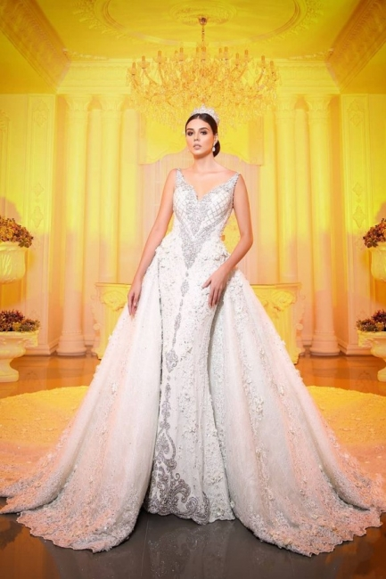 Luxury V Neck Strapless Lace Mermaid Wedding Dresses