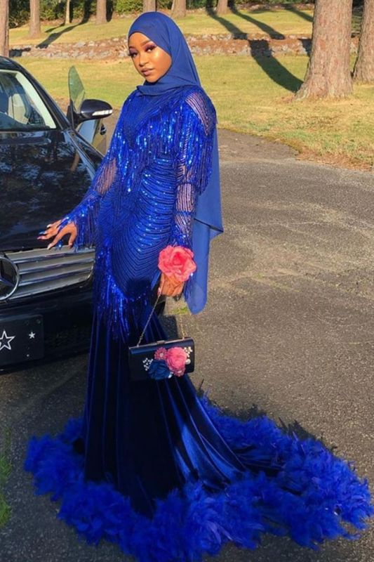 Royal Blue Sequined Mermaid Evening Gown Sweep Train