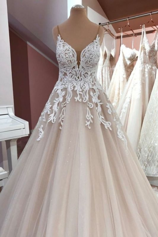 Cheap Lace Tulle Floor Length Wedding Gowns Backless