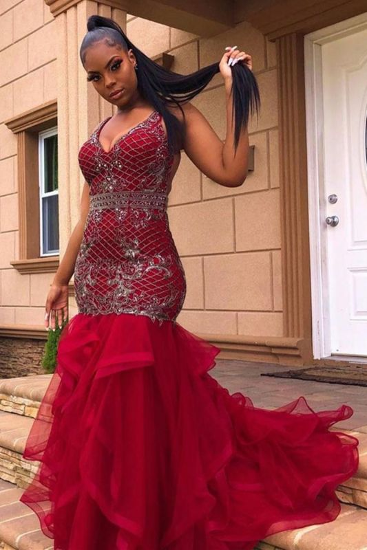 Chic V-Neck Appliques Evening Gowns Mermaid Pufft Sweep Train Prom Dress