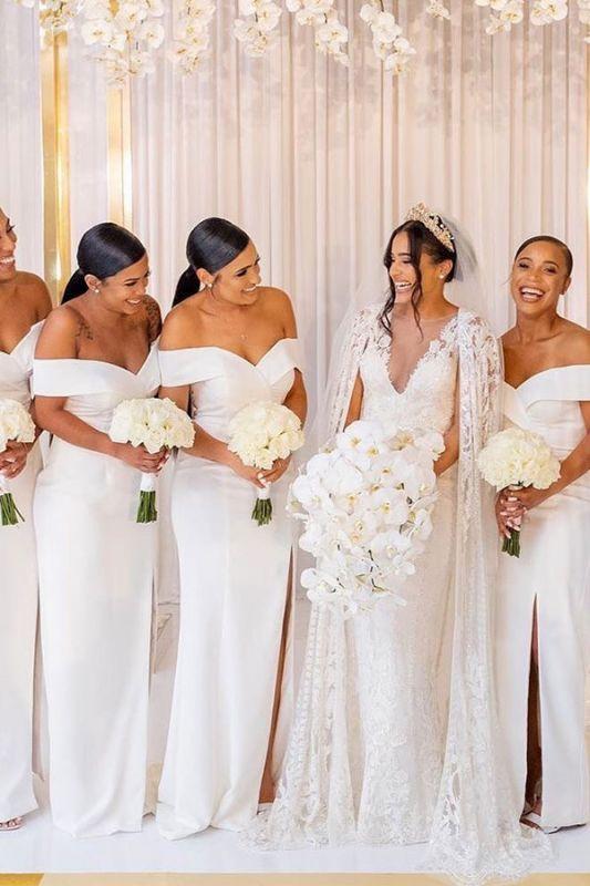 Sheath V-neck Charming Slit Off-the-shoulder Bridesmaid Dresses