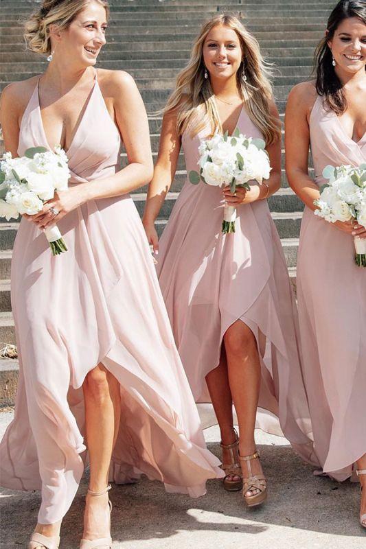 V-neck Stunning Halter A-line Bridesmaid Dresses