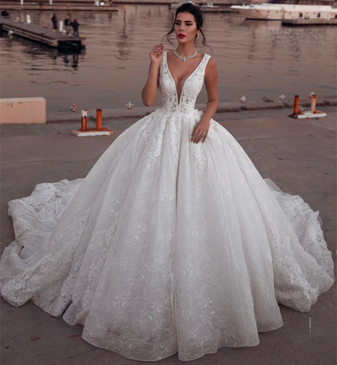 Glamorous Sleeveless Deep V-Neck Wedding Dress | Ball Gown Lace Bridal Gowns On Sale