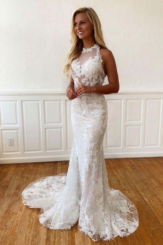 Sheath Beaded Unique Applique Sleeveless Halter Wedding Dress