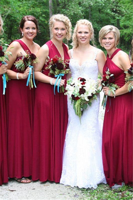 A-line Long Glamorous V-neck Convertible One-shoulder Garden Halter Bridesmaid Dresses