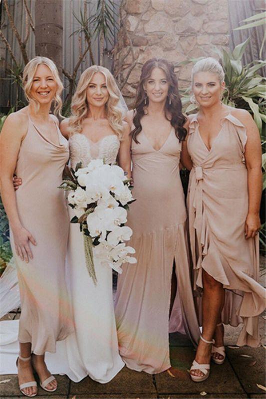 Sheath V-neck column Spaghetti-Straps Beautiful Bridesmaid Dresses