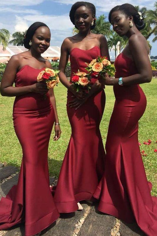 Stunning Mermaid Strapless Bridesmaid Dresses
