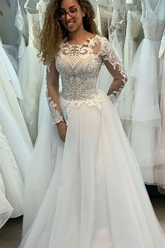 Elegant Bateau Long Sleeve Full Back Applique Pleated A Line Wedding Dresses