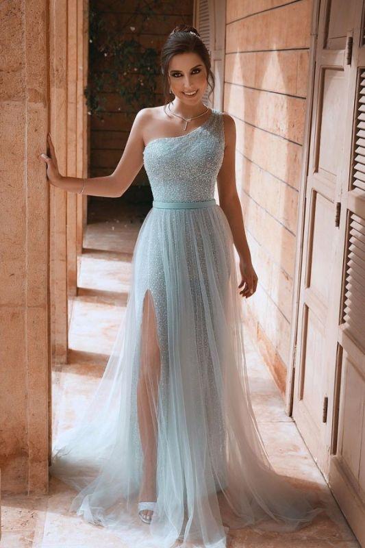 One Shoulder Sequin Side Slit Sash A Line Prom Dresses | Floor Length Evening Dresses