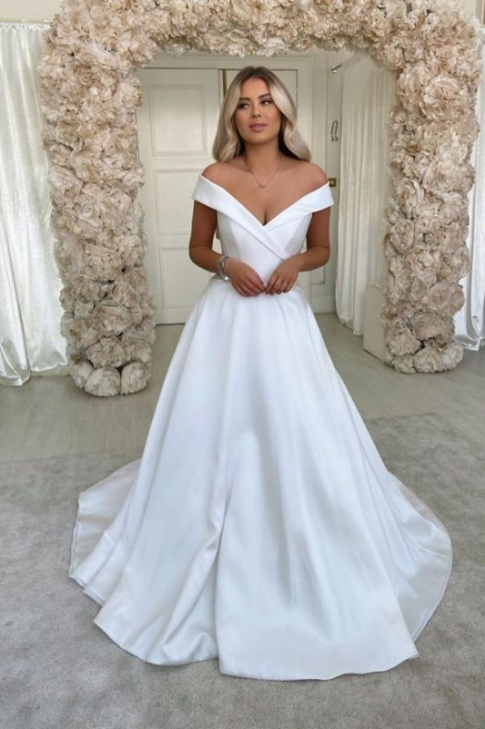Sexy Sweetheart Off The Shoulder A Line Wedding Dresses | Backless Wedding Gown